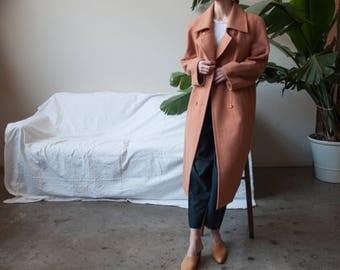oversized peach pink wool overcoat / oversized double breasted coat / minimalist winter coat / m / l / 2384o / R3