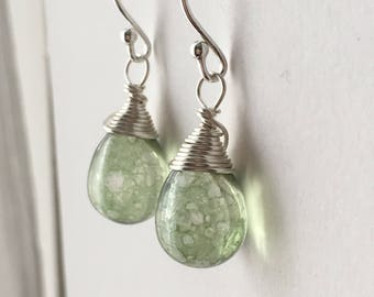 Antique Green Teardrop Earrings. Sterling Silver Earrings. Raindrop Briolette Earrings. Contemporary Earrings. Wedding Earrings. UK Seller