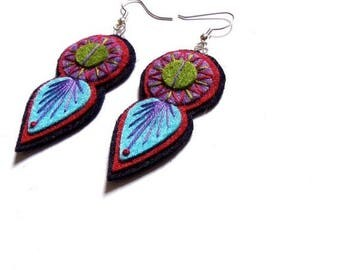 HALF PRICE Summer Sale INDIE Earrings - Felt and hand embroidery