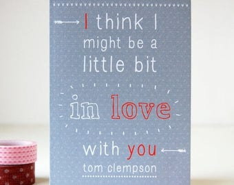 SALE Little Bit In Love Personalised Valentine's Day Card - Anniversary Card - Valentines Card