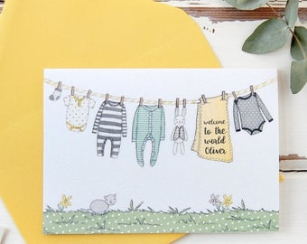SALE New Baby Welcome To The World Personalised Washing Line Card - Personalised Baby Card - Baby Boy Card - Baby Girl Card - Baby Keepsake