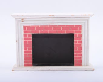 Tiny Dollhouse Fireplace, Doll Furniture, House Parts, Mantel, Doll House, Vintage ~ The Pink Room ~ 161008