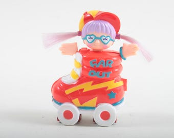 Sweet Secrets Charms, Far Out, Girl, Glasses, Red Cap, in a Red Rollerskate, Vintage, Galoob, Jewellery, Plastic ~ The Pink Room ~ SS004