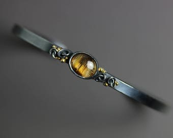 Rutilated Quartz Cuff with French Knots and Gold Dots. Gold and Silver Cuff Bracelet.