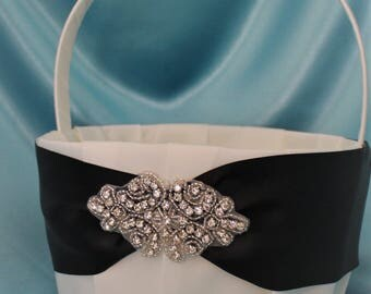 Large-  White or Ivory Flower Girl Basket-Rhinestone and Beaded Applique-Custom Ribbon Colors-Girls Age 8+ years