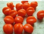 SALE 15% off Vintage beads bright orange glass West German 12mm opaque matte (8)