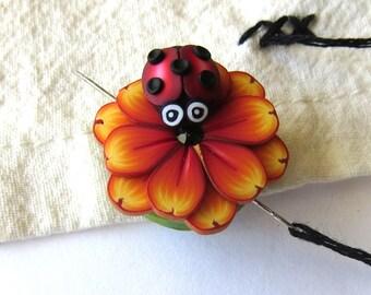 Ladybug on an Orange Flower Needle Minder Magnetic Sewing Needle Notions