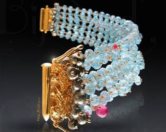 20% OFF - Custom Made to Order - Multi-Strand Aquamarine Bracelet with Pyrite, Pink Sapphire, and London Blue Topaz Accents