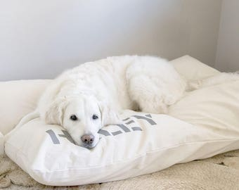 Canvas Dog Bed Cover, Custom Pet Bed Cover, Dog Bed Duvet Cover, Small to XL Covers for Dog Beds, Personalization Extra