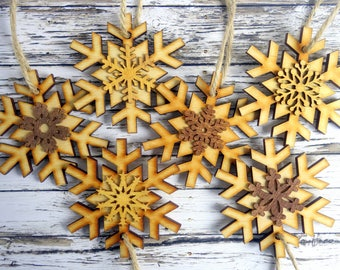 Wood snowflake Christmas ornaments. 6 natural, modern rustic, farmhouse tree decorations. Dark and light wood, laser cut