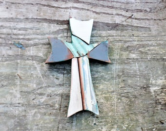 Wood Mosaic Cross, Reclaimed Wood Cross, Christian Decor, Distressed Cross Religious Wall Art Wooden Wall Cross, Rustic Cross Wood Wall Art
