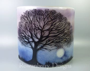 Tree Silhouette and Full Moon- Handmade Fused & Painted Glass Candle Screen/Curved Art Piece - Rowanberry Designs - Painting - Drawing - FA5