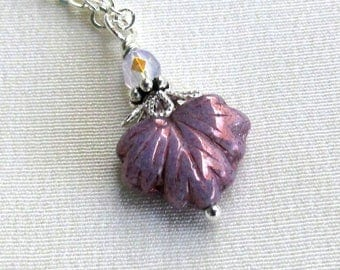 Lavender Maple Leaf Silver Necklace, Sugar Frosted Czech Glass & Crystal Pendant - Choose Length, Sterling or Silver Plated Chain