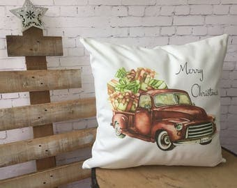 christmas truck decorative throw pillow, christmas pickup, farmhouse christmas, personalized christmas pillow