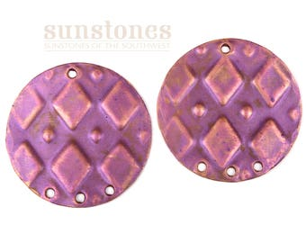 Handmade Embossed Copper Earring Components -2 pieces F0949