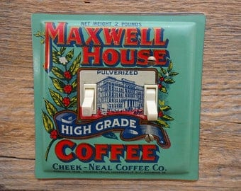 Seafoam Green Decor Kitchen Lighting Rustic Light Fixtures Switch Plate Cover Made From A Vintage Maxwell House Coffee Tin Can SP-0051