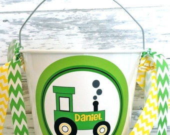 ON SALE personalized green tractor five quart bucket