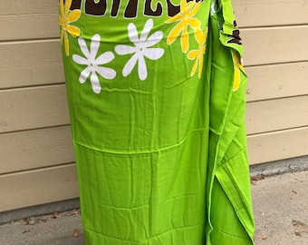 Lime green, dark brown , gold and white tattoo tiare premium Tahitian pareo Full or half sized, Tahitian costume skirt