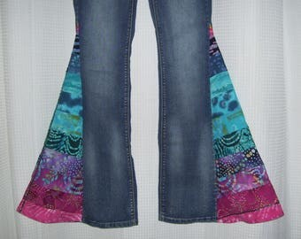 Hippie Bell Bottom Jeans OOAK Batik Blues Pink Rainbow Bells Colorful Boho Patchwork Upcycled Flare Jean Unique Bell Bottoms Adult 5-7 Angel