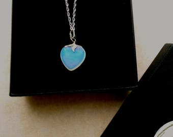 Blue Opalite Heart Pendant, Sterling SilverFloral Bail, Valentine's Day, Mother's Day, Fine Silver P Chain- Romantic Heart by enchantedbeads