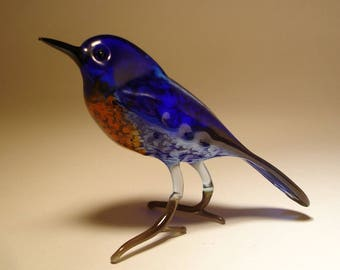 Handmade  Blown Glass Figurine Art Blue and Red Bird Bluebird Figurine