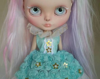Mint and Gold Flower Empress dress for Blythe and Pullip