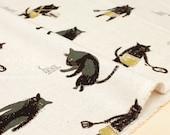 Japanese Fabric Bad Boy Cat canvas - natural - fat quarter