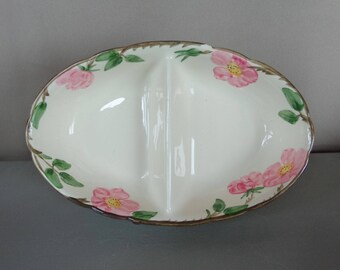 Vintage Franciscan Desert Rose Divided Dish Bowl Made USA (Chipped) Shabby Cottage Decor