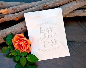 Wedding Petal Toss, Small send off Bags - Kiss cheer toss Design -  Rose Petal Toss - Spring Wedding - 20 White Bags