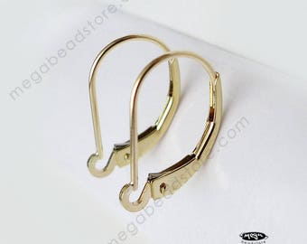 14K Yellow Gold or White Gold Leverback Earwires Interchangeable Solid Real Gold 14KG12- 1 Pair