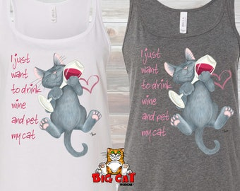 CAT TANK TOP. Drink Wine and Pet My Cat Tank. Cat Lady Tank, Cat Tank Top, Funny Cat Tank. Wine Lover Tank, Cat Lover Tank.