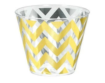 Gold Chevron Premium Tumblers-9oz.-Package of 24-NEW