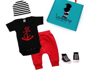 ROCKSTAR BABY KIT Red Anchor black onesie, red pants, striped hat, sneaker booties & optional gift box