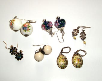 Lot of six pairs of both handmade and vintage earrings