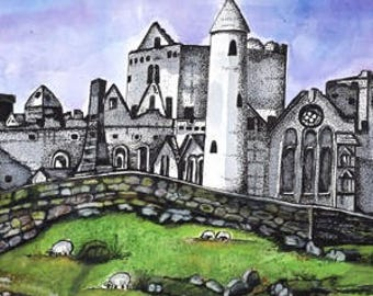 Rock of Cashel, Irish Watercolor, Ireland Painting, Irish Castle, Sheep grazing, Pen Castle, Castle Ireland, Watercolor Print, Stone Wall