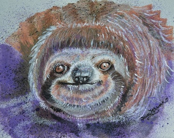 Sloth Painting, Original Art, Sloth Watercolor, Sloth Original, Wildlife Sloth, Sloth Art, Whimsical Sloth, Artist Handmade, Adorable Sloth