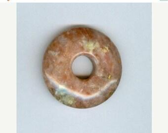 PI DAY SALE Red Jasper Focal, 35mm Red Jasper Gemstone Pi Donut Focal Pendant Doughnut 879T