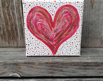 "Radiant Heart 5"" x 5"" Red, Silver, and Gold Acrylic Painting - FREE SHIPPING"