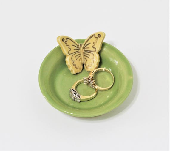 Jewelry Dish - Ring Dish - Butterfly - Gift for Her - Handcrafted Stoneware - Mothers Day - Gift for Mom - Green - Yellow - Tiny Tray