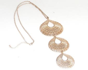 Vintage Gold Three Tier Etched Teardrop Focal on Gold Chain Pendant