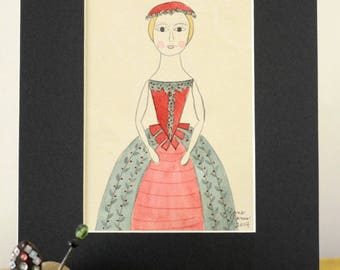 Queen Anne Doll Original Watercolor by Lana Manis, Primitive, Folk Art, Christmas, Ready to Frame