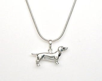 SALE Weiner Dog Dachshund Sterling Silver Pet Breed Charm Pendant Customize no. 2224
