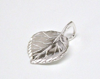 SALE Aspen Tree Leaf Sterling Silver Pendant Charm or Necklace Customize no. 1984