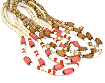 CLOSEOUT 17 Pc Lot Surfer Beach Style Necklace Puka Shell Coconut & Buli Beads 18 Inch Lengths 7019