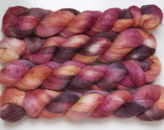 Handpainted Bluefaced Leicester Wool/Tussah Silk Roving in Lava by Blarney Yarn
