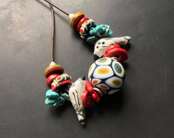 Lori Lochner handmade blown lampwork glass tribal collection Necklace adjustable Native American inspired fetish collection artisan jewelry