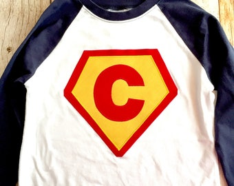 Boys navy blue white red yellow Superhero needs a Cape Birthday shirt superman monogram personalized custom