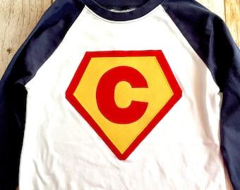 Boys or girls navy blue white red yellow pink  Superhero needs a Cape Birthday shirt superman monogram personalized custom