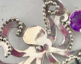 Sterling silver octopus with amethyst