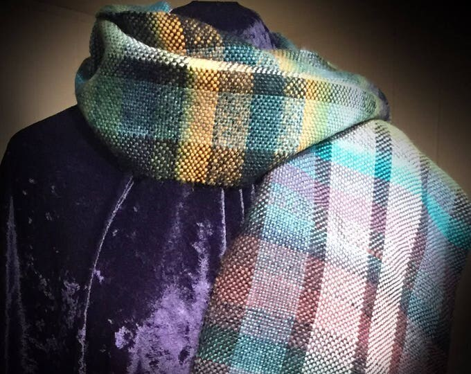 Scarf, Plaid Scarf, Mens Scarf, Womens Scarf, Unisex Scarf, Wool Scarf, Handmade Scarf, Handwoven Scarf, For Him, For Her, For Husband